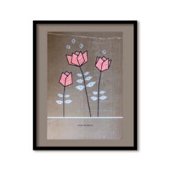 poster met bloemen illustratie goud en neon