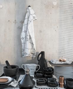 keukendoek afdroogdoek wit met zwarte print